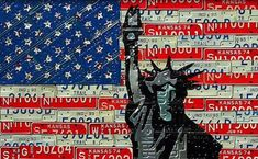 """""""Liberty Flag"""" 54 x 36 inches made from old license plates by Aaron Foster. Photo via 1800recycling.com."""