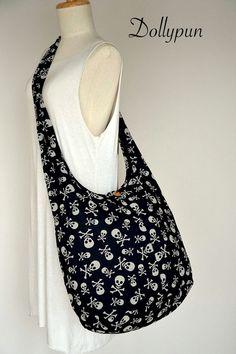 Skull Crossbones / BLACK / Hipster Cross Body Bag / Pirate Party Boho Hobo Shoulder Messenger Handbag KLK100 on Etsy, $8.99