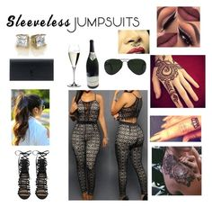 """""""❤❤❤"""" by kananae ❤ liked on Polyvore featuring Steve Madden, Riedel, Ray-Ban, Yves Saint Laurent and sleevelessjumpsuits"""