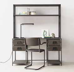 RH TEEN's Wexler Storage Desk & Hutch Set:Our collection& minimalist metal frame fitted with warm wood panels replicates the functional simplicity of vintage warehouse bins. Industrial bail pulls and framed label holders lend additional character. Teen Desk, Boys Desk, Rock Bedroom, Rh Teen, Desk Hutch, Metal Desks, Desk Storage, Industrial Furniture, Boy Room