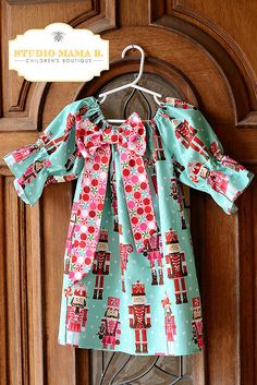 MADE TO ORDER Christmas Nutcracker Sophie Peasant Dress Big Bow Aqua Pink Red 3/4 Sleeves Toddler Girls Michael Miller