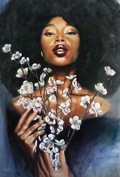 Black Art Painting, Black Artwork, Black Love Art, Black Girl Art, African American Art, African Art, Art Afro, Art Et Design, Natural Hair Art