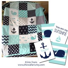 Nautical Anchor & Baby Whale quilt in aqua, navy and white by Lovesewnseams on Etsy