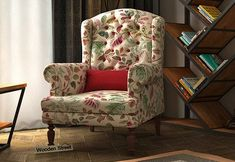 Danon Wingback Chair (Rosy Leaf) Wingback Chair, Armchair, Wing Chair, Accent Chairs, Wings, India, Modern, Stuff To Buy, Furniture
