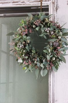 lavender, blue and green wreath - love the colours here and different take on a . lavender, blue a Christmas Door Wreaths, Christmas Flowers, Noel Christmas, Holiday Wreaths, Christmas Decorations, Lavender Wreath, Lavender Blue, Corona Floral, Illustration Noel