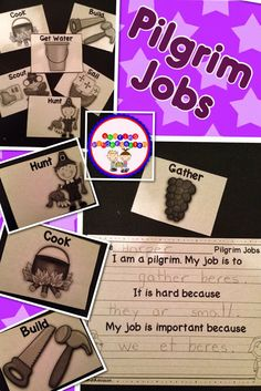 Sharing Kindergarten- Pilgrim jobs activity to let students think about how all the pilgrims worked together to make the town work. Thanksgiving Preschool, Fall Preschool, Library Activities, Writing Activities, Visible Thinking, Teaching First Grade, School Holidays, Fun Learning, Kids Thanksgiving
