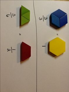 Use pattern blocks to help students find equivalent fractions. Students simply take the blocks and trade them in for larger and larger blocks until they can not use any larger blocks to make the s… Simplifying Fractions, Teaching Fractions, Math Fractions, Teaching Math, Maths, Fraction Activities, Math Resources, Math Activities, Math Games