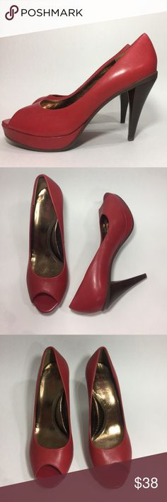 Red Open Toe Pumps High Heels Size 9 Kenneth Cole Absolutely gorgeous red open toe leather high-heeled pumps! 4 1/2 inch heel. Genuine leather, Peep show shoes. Red stilettos. Fabulous condition. Size 9M Kenneth Cole Reaction Shoes Heels