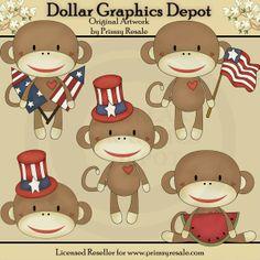 Patriotic Sock Monkeys - Clip Art - $1.00 : Dollar Graphics Depot, Quality Graphics ~ Discount Prices