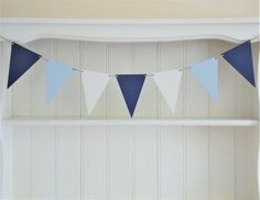 Blue and White Wooden Bunting Hand Painted in a Coordinating Drawing Room Blue, Coastal Colors, Star Garland, Ipad Stand, Deck Chairs, Striped Fabrics, Bunting, Blue And White, Plywood