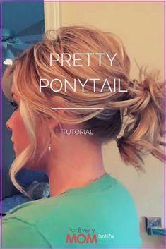 Medium Hair Styles, Short Hair Styles, Updo Styles, Ponytail Hairstyles Tutorial, Hair Updo, Short Hair Ponytail Hairstyles, Hairstyles Haircuts, Wedding Hairstyles, Medium Hair Ponytail