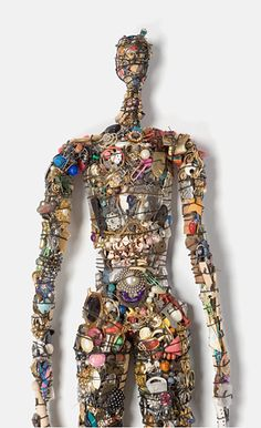 'Native Figure' height 42 inches - Recycled Mixed Media