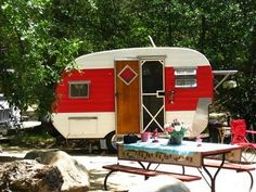 sweet little 1957 trailer, camping on the Kern River, CA. The Beehive Cottage
