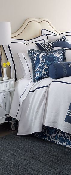 Haveford/Blue and white headboard, blue and white bed linens, mom bedding blue and white dust ruffle White Headboard, White Bedding, Bedding Sets, Home Bedroom, Master Bedroom, Bedroom Decor, Blush Bedroom, White Home Decor, White Rooms