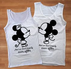 Best Mickey Minnie Black and White Couples Tank by Sarimbittees, $37.00