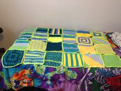 Stitch cation afghan bright colors squares