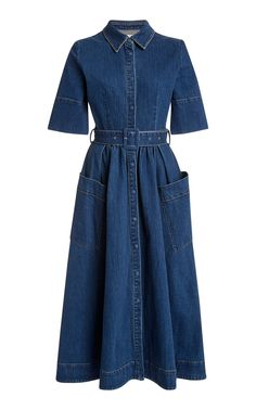 Belted Denim Maxi Dress by CO Now Available on Moda Operandi Modest Outfits, Modest Fashion, Women's Fashion Dresses, Dress Outfits, Demin Dress Outfit, Women's Dresses, Girl Outfits, Denim Midi Dress, Jeans Dress