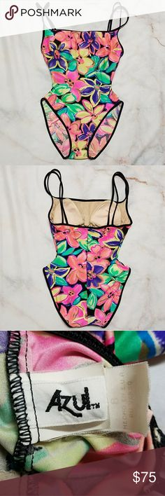 *Vintage 1990s* one piece swimsuit, S What a great find! Colorful one piece that is in great condition. Some light spots inside the left cup but not visible when worn. Tag is faded but says size 8.  I've listed this as a small because it is definitely not a modern size 8, likely from shrinkage and sizing changes over the years. I've included measurements so please refer to them before offering or purchasing! In my opinion, this would fit an hourglass figure w/ a 23-26 inch waist, at least a…