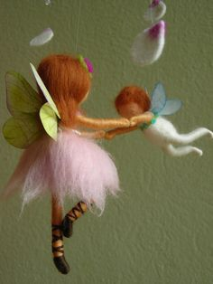 Mobile A ballet scene with two fairies  felted by naturechild