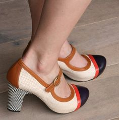 Chie Mihara shoes. Love the mix of colors and the pattern on the heel.