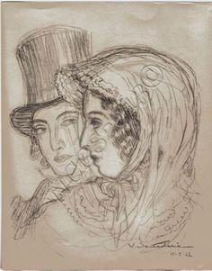 Un tres beau dessin au crayon representant George Sand et Alfred de Musset par Vicente Santaolaria (1886-1967). Peintre portraitiste, paysagiste, sculpteur. On luit doit une tres belle peinture de la maison de Nohant, ainsi que la chambre de George Sand.