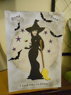hocus pocus I need wine to focus Halloween card