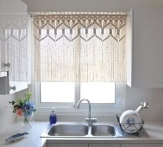 SALE Custom Kitchen Macrame Curtains Fiber art by KnotSquared