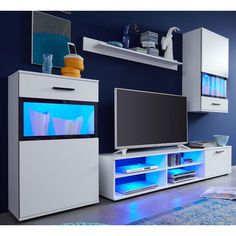 Polar Living Room Furniture Set In White With Black Printing on Transparent Glass And LED Lighting Features: •Polar Living Room Furniture Set In White With LED Lighting •Fronts And Body: ...