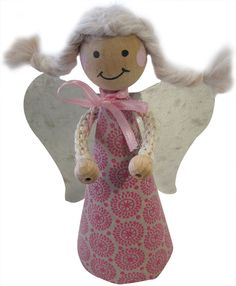 Bastelanleitung: Fröhliche Schutzengel Wooden Pegs, Van, Dolls, Christmas Ornaments, Holiday Decor, Blog, Decorations, Paper Envelopes, Guardian Angels