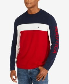 Nautica Boys Single Dye Jersey Knit Long Sleeve V-Neck Tee