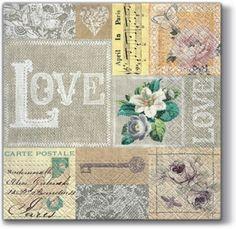Love Square Decoupage Napkin