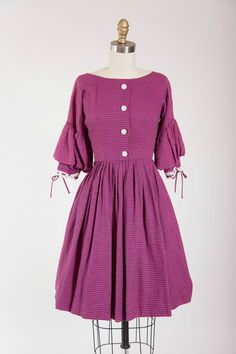 Vintage 1950s Dress Ambrosial Valentine Fuchsia by stutterinmama