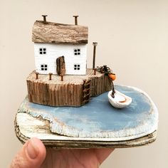 Clay Houses, Miniature Houses, Marine Blue, Driftwood Art, Wooden House, Sculpture Clay, House Made, Wooden Crafts, Little Houses