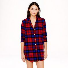 Nightshirt in bright cerise plaid flannel on shopstyle.com