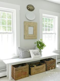 Farmhouse Entryway - Farmhouse Bench -Old Crates Underneath Hold Shoes Farmhouse Bench, Farmhouse Decor, Farmhouse Trim, Farmhouse Style, Farmhouse Ideas, Coastal Farmhouse, Old Crates, Vintage Crates, Wine Crates