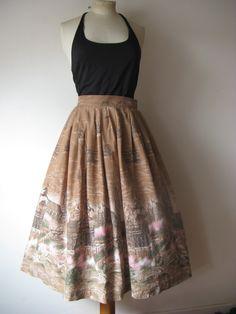 Original vintage 50's  novelty print skirt  , boarder print of London land marks Amazing novelty print UK M by VintageHoards on Etsy