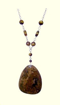 Jasper Necklace, Brown Necklace, Oval, Tiger Eye Necklace, 925 Silver Necklace, Handmade, Natural Stones Necklace,Leo, Virgo, Scorpio de ArtGemStones en Etsy