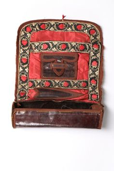 A brown glacé leather sewing roll embroidered with strawberries, mid century, together with a chartreuse leather sewing pouch and another of glacé leather with checked silk lining Sewing Case, Sewing Box, Sewing Kits, Vintage Sewing Notions, Vintage Sewing Machines, Sewing Pockets, Sewing Rooms, Sewing Spaces, Sewing Leather