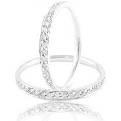 Aparador De Aliança Com Diamantes Em Ouro Branco 18k 750