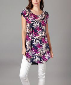 Look what I found on #zulily! Fuchsia & Blue Floral Scoop Neck Tunic - Plus #zulilyfinds