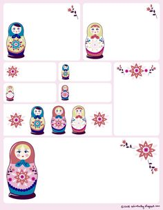 Print free sheets of Matryoshka Doll-themed labels.