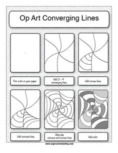 See 8 Best Images of Op Art Worksheets Printable. How to Step by Step Op Art Worksheet Op Art Lesson Worksheet Op Art Worksheets Op Art Worksheets Op Art Lesson Drawing Documents D'art, Op Art Lessons, Kids Drawing Lessons, Art Drawings For Kids, Illusion Kunst, Optical Illusion Art, Classe D'art, Art Handouts, 5th Grade Art