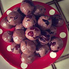 chia seeds, almond, hazelnut, walnuts, agave, coconut milk creamed in vitamix then mixed with cocoa and protean powder and cranberries and form into balls for easy snack on the go.