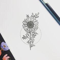 Znalezione obrazy dla zapytania minimalist sunflower tattoo