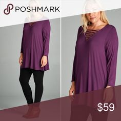 """{Plus} Criss Criss Strappy neckline Tunic Top {Plus} Criss Cross Strappy neckline Rayon Jersey Tunic Top. Material is 95/5 Rayon/Spandex. Made in USA!!! Excellent quality, color is """"Marsala"""" (Like a rust color, super trendy!) Sizes 1X-3X super cute - loving this look!!! Pair with leggings, coming soon to my closet! Tops Tunics"""