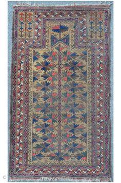 Baluch prayer rug with camel ground 143 x 82 cm, harmonical composition.