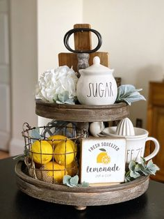 Lemon Kitchen Decor, Kitchen Tray, Kitchen Island Decor, Farmhouse Kitchen Decor, Kitchen Vignettes, Country Farmhouse Decor, Lemonade Sign, Fresh Squeezed Lemonade, Tiered Stand