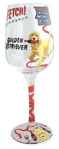 "Golden Retriever Dog Wine Glass . $12.95. Our Golden Retriever Dog Wine Glass is hand painted and reads Fetch...Good Boy and shows our Golden Retriever with a wine bottle in his mouth as he returns from the wine store, matching color design on the glass base, measures about 3.2""W x 8.6""H, 12 ounce capacity, weighs about .4lbs."
