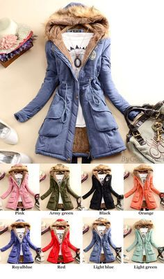Which color do you want for this coat? I like the green one! Slim Wool Hooded Long Winter Cotton Coat #coat #winter #Wool #long #slim #women
