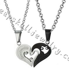 Cheap His & Hers Couple Stainless Steel I Love You Heart Shape Valentine Pendant Lover hot online $29.69